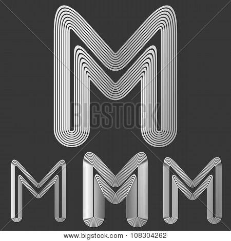 Silver line m logo design set