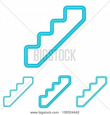 Cyan line stair logo design set