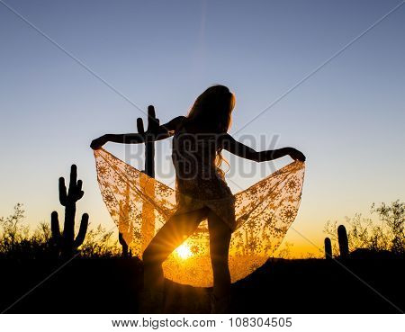 A model posing in the desert of the American Southwest at sunset.