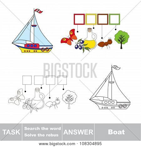 Vector game. Find hidden word Boat. Search the word.