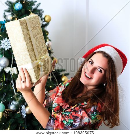 Beautiful Smiling Girl Holding A Box With Christmas Gift