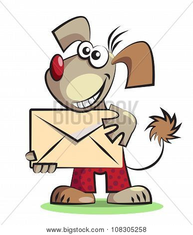 Cartoon Dog With The Mail Envelope