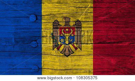 Flag of Moldova, Moldovan Flags painted on wood texture