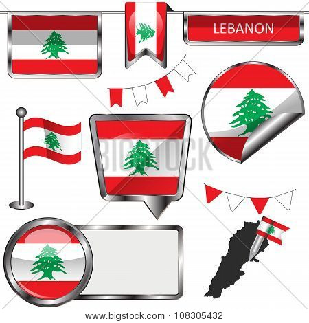 Glossy Icons With Flag Of Lebanon
