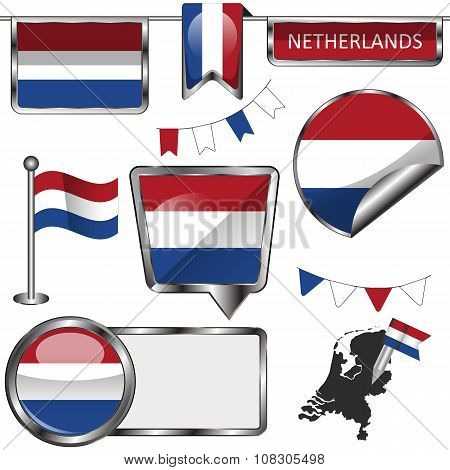 Glossy Icons With Flag Of Netherlands