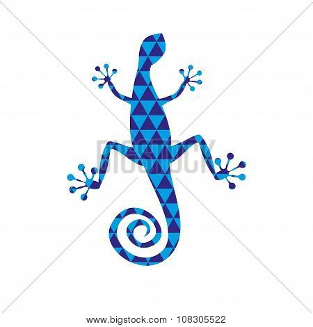 Lizard With Blue Triangle Pattern