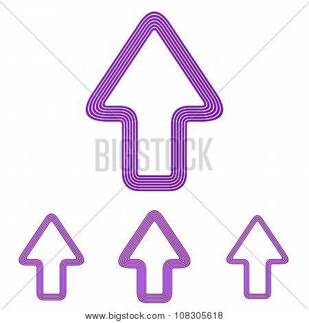 Purple up arrow logo design set