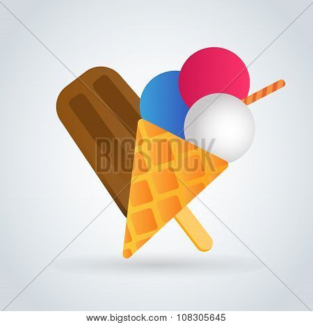 Ice cream vector icons set