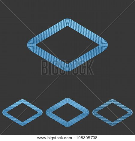 Blue line rhombus logo design set