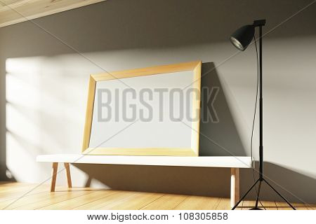 Blank Wooden Picture Frame In A Sunny Gallery With Benches And Lighting, Mock Up