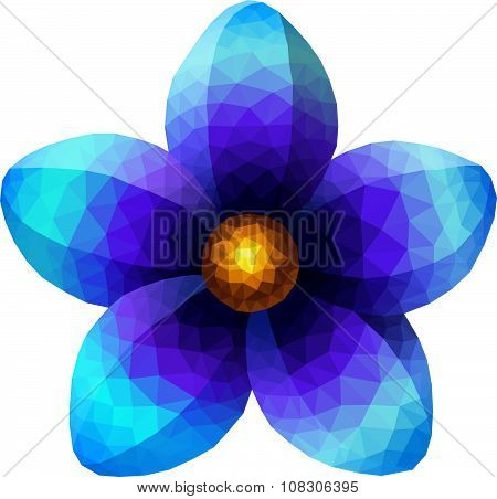 Polygonal blue flower