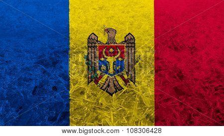 Flag of Moldova, Moldovan Flags painted on ice texture