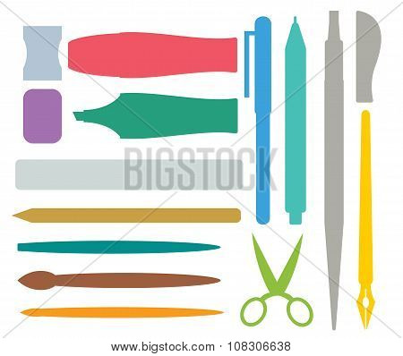 Flat stationery and drawing tools, pen set