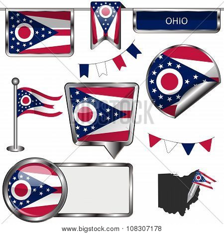 Glossy Icons With Flag Of Ohio