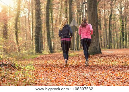 Two Fit Young Woman Jogging Together