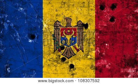 Flag of Moldova, Moldovan Flags painted on metal texture with bullet holes