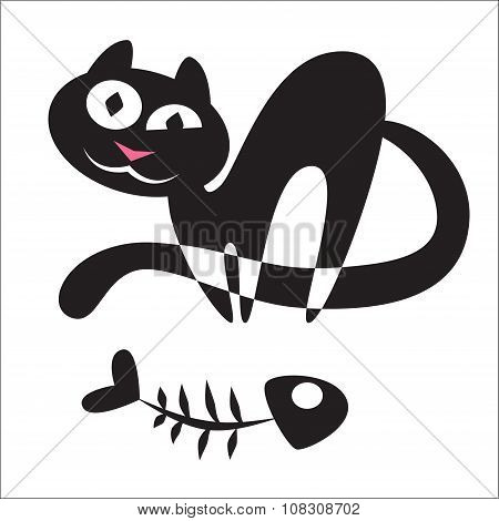 Silhouette Of A Cat With A Fish Skeleton