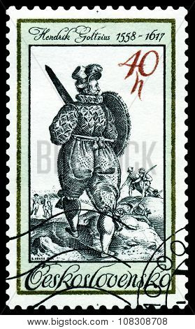 Vintage  Postage Stamp. Warrior.