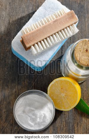 Tools And Sodium Bicarbonate For House Cleaning
