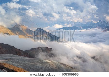 Cloudy day in high mountains