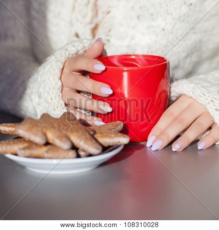 Close up of woman's hands holding cup of hot coffee drink. She is wearing warm cardigan. Christmas gingerbread on the table. Winter chill out and lifestyle concept.