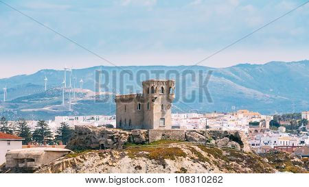 Ancient medieval Castle Tower in Tarifa, Andalusia Spain.