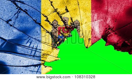 Flag of Moldova, Moldovan Flags painted on glass texture