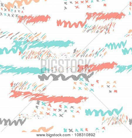 Vector boho seamless pattern with bold lines in pink, turquoise and gray colors. Hand drawn Creative