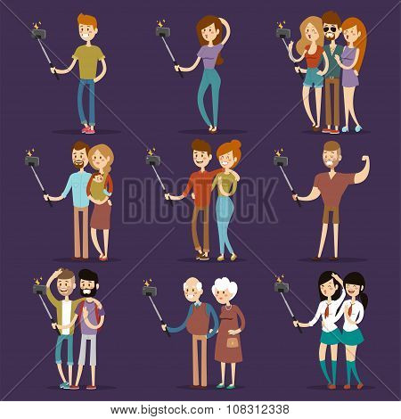 Selfie shots family and couples vector illustration
