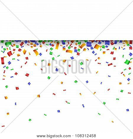 Colorful strip celebration background with confetti.