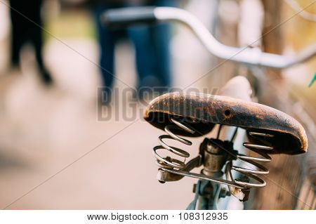 Close up vintage old bicycle seat