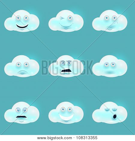 Cartoon funny white clouds set, muzzle with pink cheeks and winking eyes.