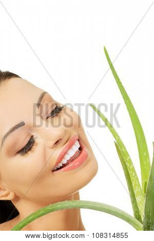 Spa woman with aloe vera