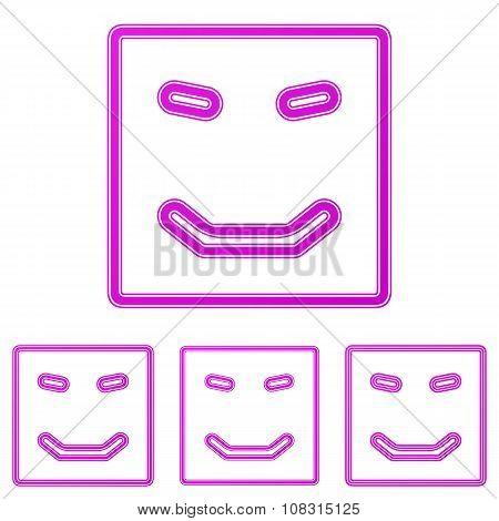 Magenta line happy logo design set
