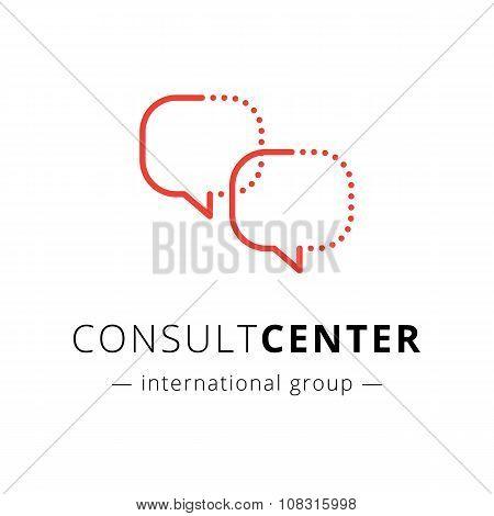 Vector modern minimlistic speech bubbles logo. C letter brand sign