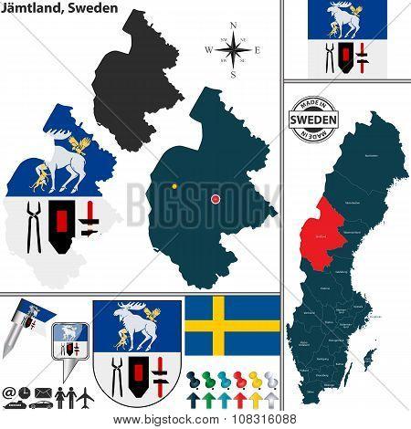 Map Of Jamtland, Sweden