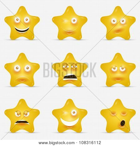 Cartoon stars with emotional faces in cartoon style or idea of logo.