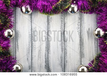 New Year Theme Christmas Tree Pink And Green Decoration And Silver Balls On White Retro Stylized Woo