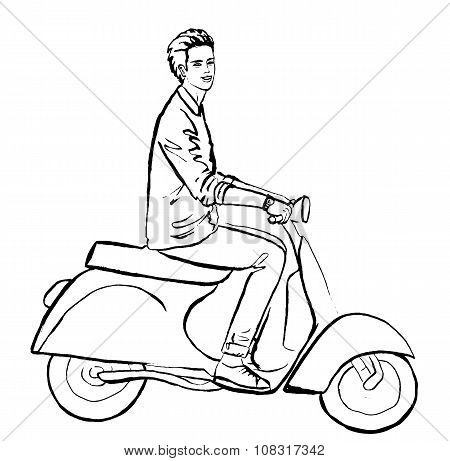 man driving scooter
