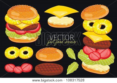 Vector burgers isolated on black background.