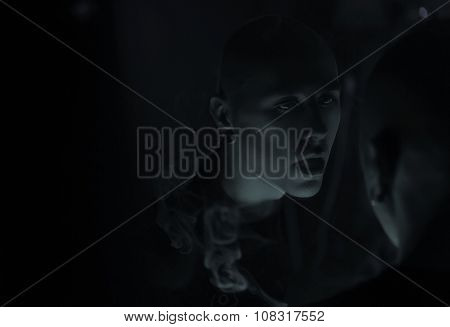 Club Party - Nightlife. Handsome Sexy Young Stylish Man Smokin
