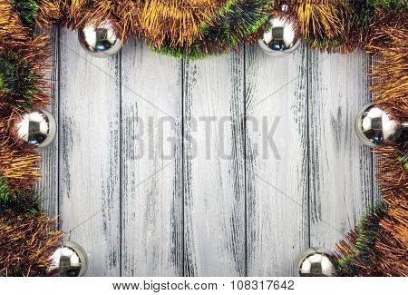 New Year Theme Christmas Tree Gold And Green Decoration And Silver Balls On White Retro Stylized Woo