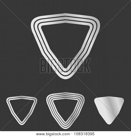 Silver line triangle logo design set