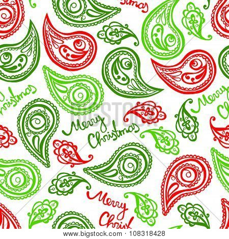 Merry Christmas. Christmas pattern. Paisley pattern. Vector seamless background.