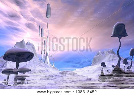 Frozen Alien Landscape with Dramatic Sky