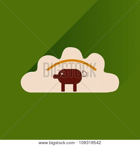 Flat with shadow Icon dumplings and pork