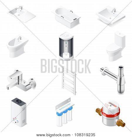 Sanitary Engineering Detailed Isometric Icon Set