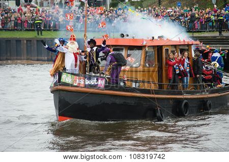 Sinterklaas Arriving On Boat