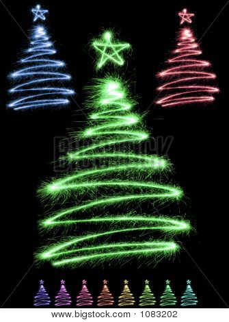Multicolor Sparkler Trees
