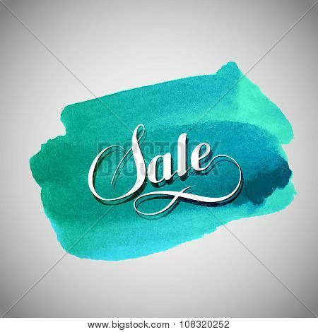 Sale label on the azure watercolor stain